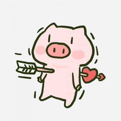 超萌可爱卡通小猪头像情侣