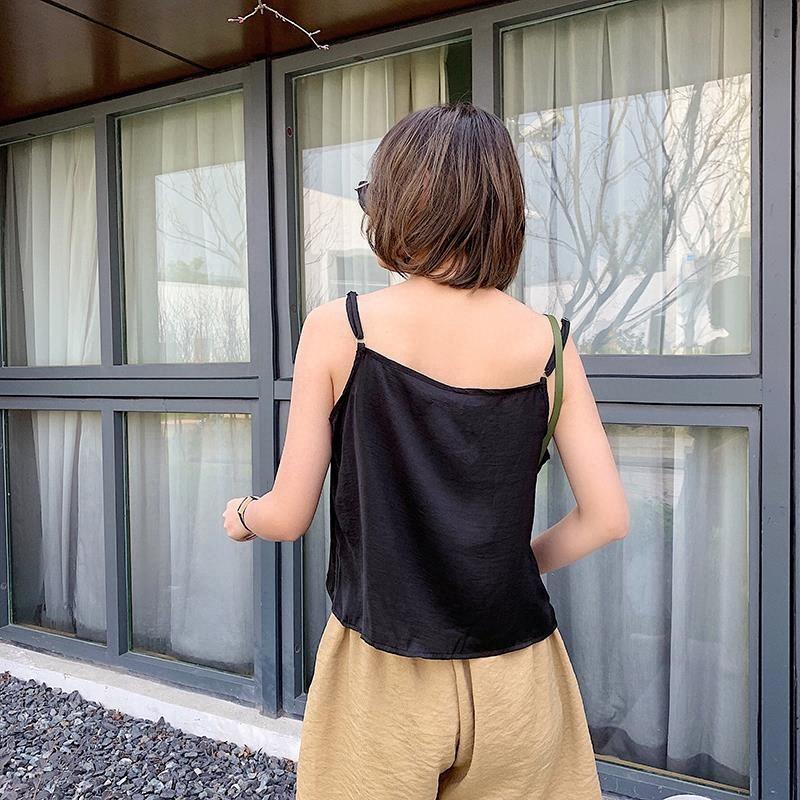 夏季外穿绸缎单排扣V领小吊带