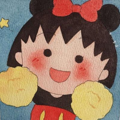 樱桃小丸子水彩画微信头像