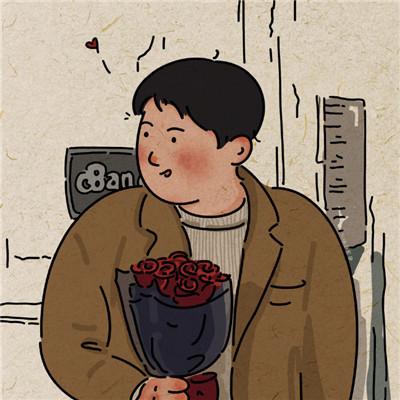 怀旧风格甜蜜的插画风情侣头像